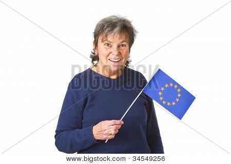 Female Senior With European Flag
