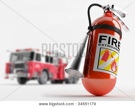 Fire Truck And A Fire Extinguisher