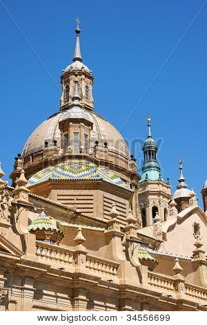 Our Lady Of The Pillar Basilica Cathedral In Zaragoza
