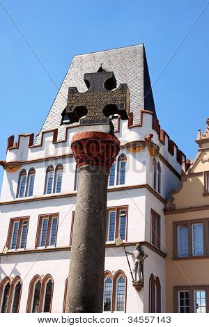 Stone Cross Of Market Square In Trier, Germany