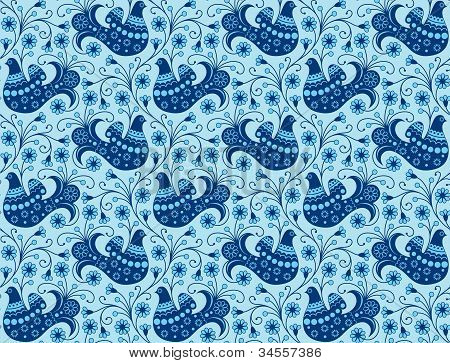 Blue Seamless Background With Birds
