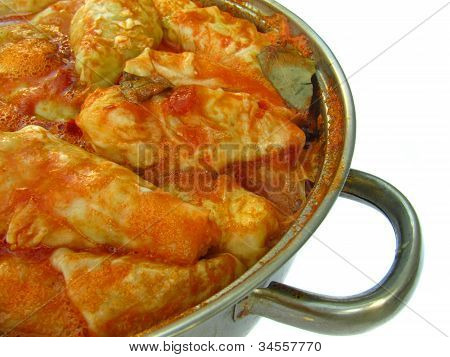 Cabbage Rolls In A Pan From The Side On White Background