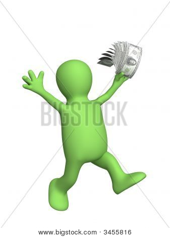 3D Puppet With Money In A Hand