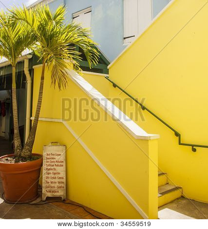 Yellow Stairs By Souvenier Stand