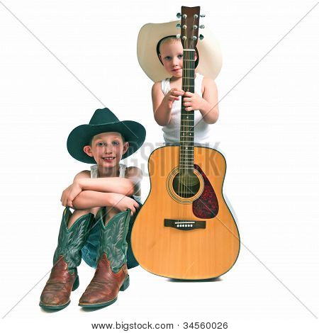 Two Little Cowboys With A Guitar