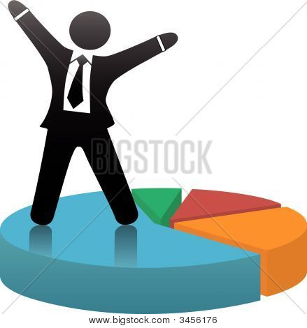 Business Man Celebrate Market Share Succes On Pie Chart