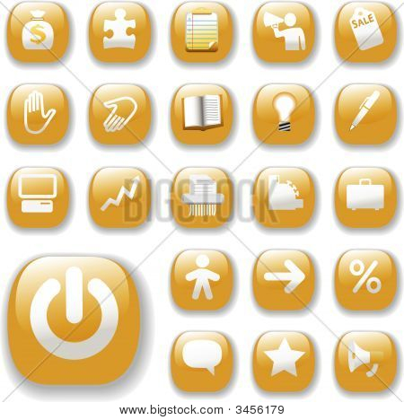 Shiny Buttons Icons Business Internet Website Set Gold.Eps
