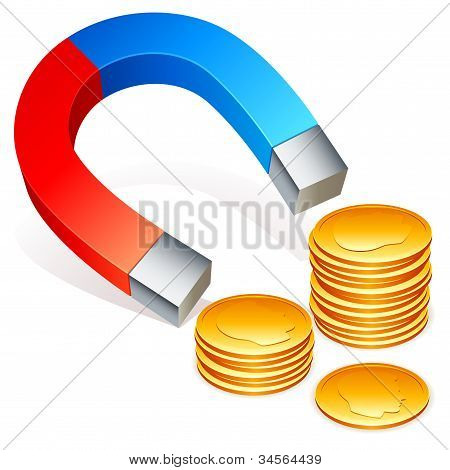 Magnet and coins.
