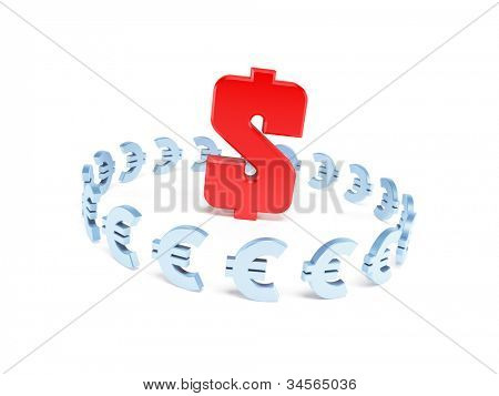 dollar domination over euro, 3d illustration