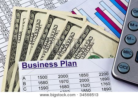 a business plan for starting a business. ideas and strategies for self-employment. dollars and calculators