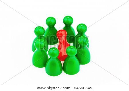red and green characters. bullying, loneliness and outsider in the team.