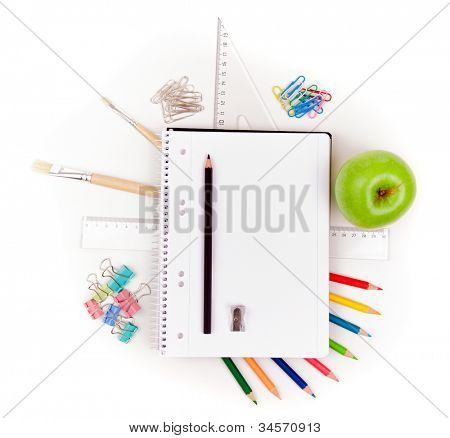 Photo of office and student gear over white background - Back to school concept
