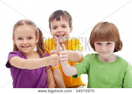 Friends forever - childhood pals showing thumbs up signs, isolated