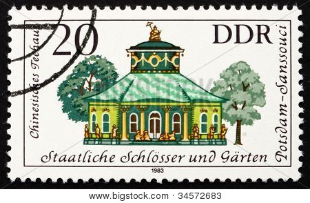 Postage stamp GDR 1983 Chinese Teahouse, Potsdam, Germany