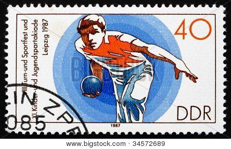 Postage stamp GDR 1987 Bowling