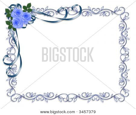 Blue Roses Vintage Invitation Frame