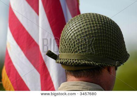 Us Helmet Near United States Of America Flag