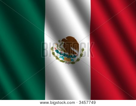 Rippled Mexican Flag Background