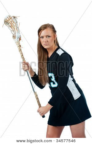 Girls lacrosse defender