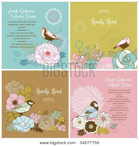 set of lovely card templates with flower & bird