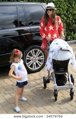 MALIBU - JUL 4: Model Alessandra Ambrosio takes daughter Anja, son Noah out for a walk in Malibu on July 4, 2012
