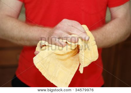 Drying Hands With Hand Towel