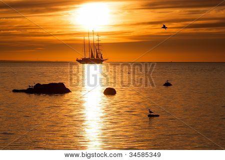 Tall Sailing Ship Silhouette