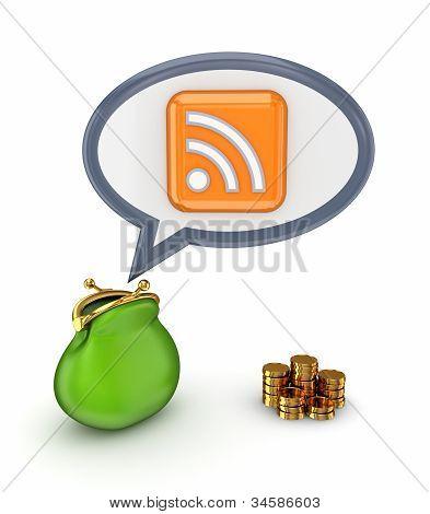 Monedero verde, monedas de oro y símbolo RSS.