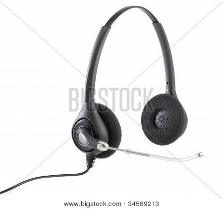 Telephonists Hands Free Headphones Isolated On White With Clipping Path