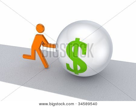 3d small person pushing dollar symbol on a road.