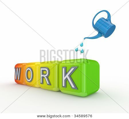 Blue bailer and colorful cubes with a word WORK,