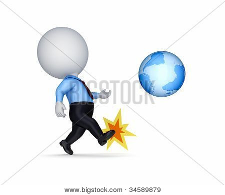 3d small person kicking a globe.