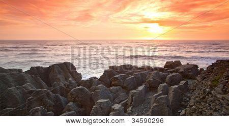 Panorama sunset at Pancake grand canyon rock at west coast beach New Zealand