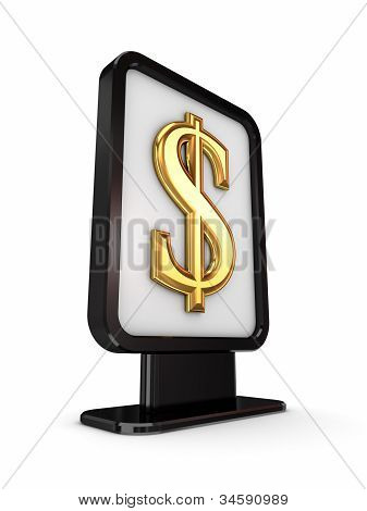 Dollar sign in a lightbox.