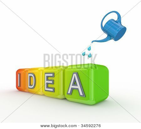 Blue bailer and colorful cubes with a word IDEA.