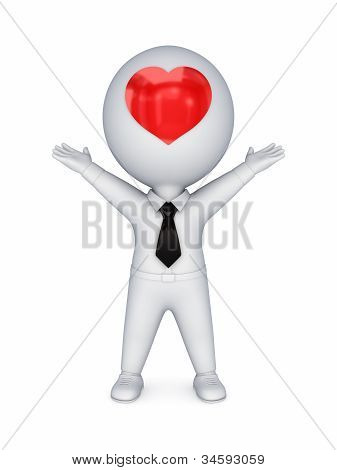 3d small person with red heart on a face.