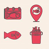 Set Fishing Bucket With Fishes, Calendar With A Fish, Location Fishing And Fish Icon. Vector poster