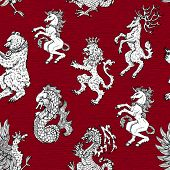 Seamless Pattern With Heraldic Animals Like Lion, Deer, Beer, Unicorn On Background. Hand Drawn Engr poster