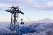 Whistler, British Columbia, Canada. Beautiful View Of Peak To Peak Gondola With The Canadian Snow Co poster