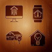 Set Smart House And Light Bulb, Computer Monitor With Smart Home, Smart House And Light Bulb And Sma poster