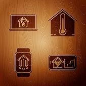 Set Mobile Phone With Smart Home With Wi-fi, Laptop With Smart House And Light Bulb, Smart Home With poster