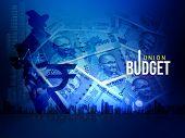 India Union Budget, India Economy, Finance Background, Indian Rupee Blue Abstract Background, Illust poster