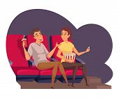 Young Couple At Cinema Flat Vector Illustration. Friends Watching Movie And Laughing Cartoon Charact poster