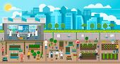 Scientists Growing Plants In City, Urban Agriculture In Town With Developed Infrastructure. Farming  poster