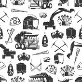 Coal Production, Mining Industry And Miner Equipment Tools Seamless Pattern. Vector Background Of Ma poster