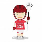 Sports Cartoon Vector Illustrations: Lacrosse. Isolated On White Background poster