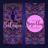 Yoga Card, Flyer, Poster, Mat Design. Colorful Neon Template For Spiritual Retreat Or Yoga Studio. O poster