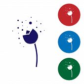 Blue Flower Producing Pollen In Atmosphere Icon Isolated On White Background. Set Color Icons In Cir poster