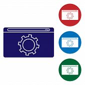 Blue Setting Icon Isolated On White Background. Adjusting, Service, Maintenance, Repair, Fixing. Set poster