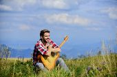 Music For Life. Country Music Song. Sexy Man With Guitar In Checkered Shirt. Hipster Fashion. Happy  poster